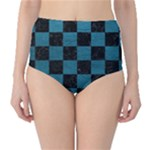 SQUARE1 BLACK MARBLE & TEAL LEATHER High-Waist Bikini Bottoms