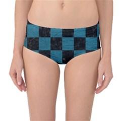 SQUARE1 BLACK MARBLE & TEAL LEATHER Mid-Waist Bikini Bottoms