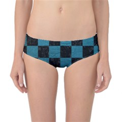 Square1 Black Marble & Teal Leather Classic Bikini Bottoms by trendistuff
