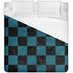 SQUARE1 BLACK MARBLE & TEAL LEATHER Duvet Cover (King Size)