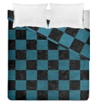 SQUARE1 BLACK MARBLE & TEAL LEATHER Duvet Cover Double Side (Queen Size)