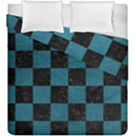 SQUARE1 BLACK MARBLE & TEAL LEATHER Duvet Cover Double Side (King Size)