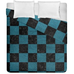 SQUARE1 BLACK MARBLE & TEAL LEATHER Duvet Cover Double Side (California King Size)