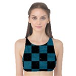SQUARE1 BLACK MARBLE & TEAL LEATHER Tank Bikini Top