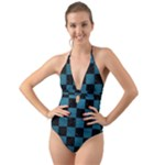 SQUARE1 BLACK MARBLE & TEAL LEATHER Halter Cut-Out One Piece Swimsuit