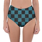 SQUARE1 BLACK MARBLE & TEAL LEATHER Reversible High-Waist Bikini Bottoms