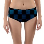 SQUARE1 BLACK MARBLE & TEAL LEATHER Reversible Mid-Waist Bikini Bottoms