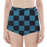 SQUARE1 BLACK MARBLE & TEAL LEATHER High-Waisted Bikini Bottoms