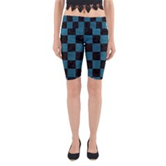 SQUARE1 BLACK MARBLE & TEAL LEATHER Yoga Cropped Leggings
