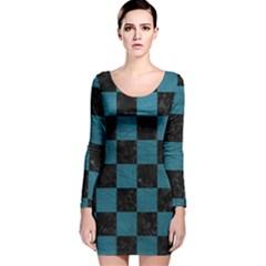 SQUARE1 BLACK MARBLE & TEAL LEATHER Long Sleeve Velvet Bodycon Dress