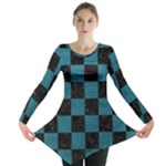 SQUARE1 BLACK MARBLE & TEAL LEATHER Long Sleeve Tunic