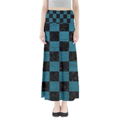 SQUARE1 BLACK MARBLE & TEAL LEATHER Full Length Maxi Skirt