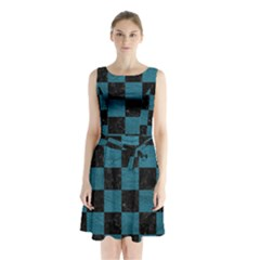 SQUARE1 BLACK MARBLE & TEAL LEATHER Sleeveless Waist Tie Chiffon Dress