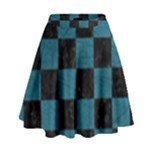 SQUARE1 BLACK MARBLE & TEAL LEATHER High Waist Skirt