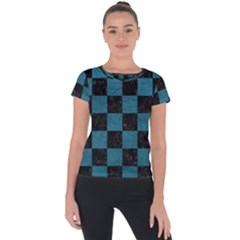 SQUARE1 BLACK MARBLE & TEAL LEATHER Short Sleeve Sports Top