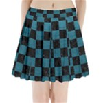 SQUARE1 BLACK MARBLE & TEAL LEATHER Pleated Mini Skirt