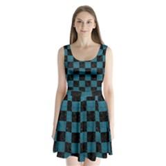 SQUARE1 BLACK MARBLE & TEAL LEATHER Split Back Mini Dress