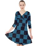SQUARE1 BLACK MARBLE & TEAL LEATHER Quarter Sleeve Front Wrap Dress