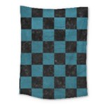 SQUARE1 BLACK MARBLE & TEAL LEATHER Medium Tapestry