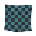 SQUARE1 BLACK MARBLE & TEAL LEATHER Square Tapestry (Small)