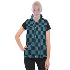 SQUARE1 BLACK MARBLE & TEAL LEATHER Women s Button Up Puffer Vest