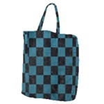 SQUARE1 BLACK MARBLE & TEAL LEATHER Giant Grocery Zipper Tote