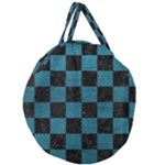 SQUARE1 BLACK MARBLE & TEAL LEATHER Giant Round Zipper Tote