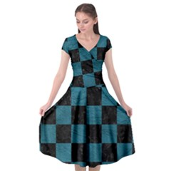 SQUARE1 BLACK MARBLE & TEAL LEATHER Cap Sleeve Wrap Front Dress