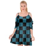 SQUARE1 BLACK MARBLE & TEAL LEATHER Cutout Spaghetti Strap Chiffon Dress