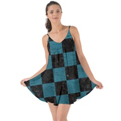 SQUARE1 BLACK MARBLE & TEAL LEATHER Love the Sun Cover Up