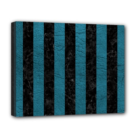 Stripes1 Black Marble & Teal Leather Deluxe Canvas 20  X 16   by trendistuff