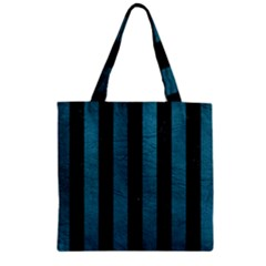 Stripes1 Black Marble & Teal Leather Zipper Grocery Tote Bag by trendistuff