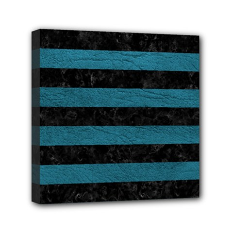 Stripes2 Black Marble & Teal Leather Mini Canvas 6  X 6