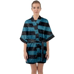 Stripes2 Black Marble & Teal Leather Quarter Sleeve Kimono Robe