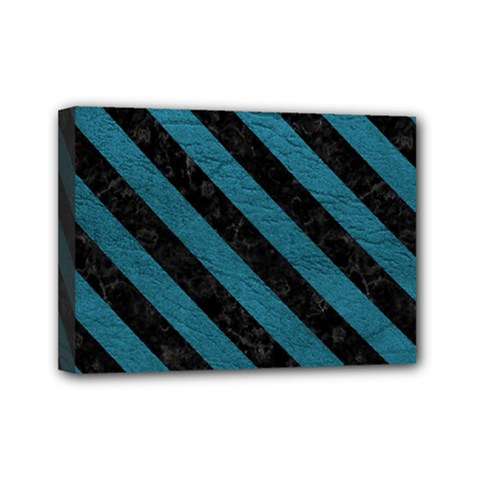 Stripes3 Black Marble & Teal Leather Mini Canvas 7  X 5  by trendistuff