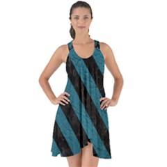 Stripes3 Black Marble & Teal Leather Show Some Back Chiffon Dress by trendistuff