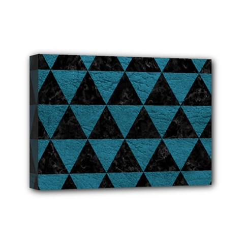 Triangle3 Black Marble & Teal Leather Mini Canvas 7  X 5  by trendistuff