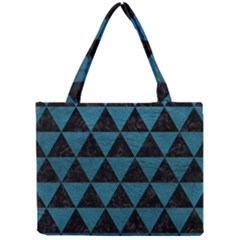 Triangle3 Black Marble & Teal Leather Mini Tote Bag by trendistuff