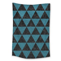 Triangle3 Black Marble & Teal Leather Large Tapestry by trendistuff