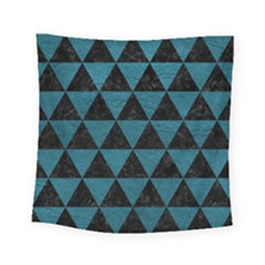 Triangle3 Black Marble & Teal Leather Square Tapestry (small) by trendistuff