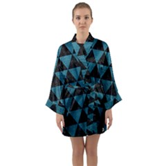 Triangle3 Black Marble & Teal Leather Long Sleeve Kimono Robe