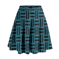 Woven1 Black Marble & Teal Leather High Waist Skirt by trendistuff