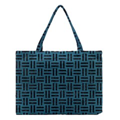 Woven1 Black Marble & Teal Leather Medium Tote Bag by trendistuff