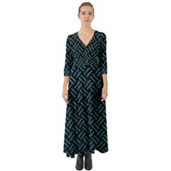 Woven2 Black Marble & Teal Leather (r) Button Up Boho Maxi Dress
