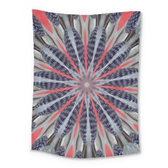 Red White Blue Kaleidoscopic Star Flower Design Medium Tapestry by yoursparklingshop