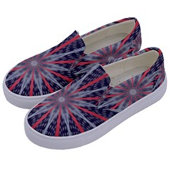 Red White Blue Kaleidoscopic Star Flower Design Kids  Canvas Slip Ons by yoursparklingshop