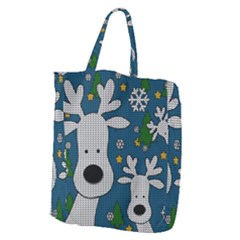 Cute Reindeer  Giant Grocery Zipper Tote by Valentinaart