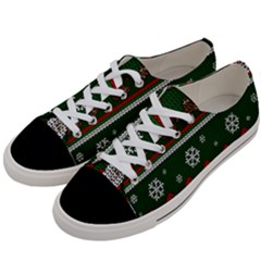 Ugly Christmas Sweater Women s Low Top Canvas Sneakers by Valentinaart