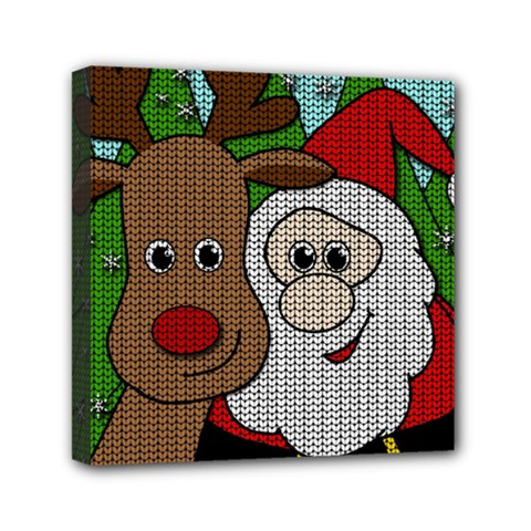 Santa And Rudolph Selfie  Mini Canvas 6  X 6  by Valentinaart