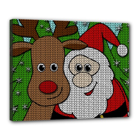 Santa And Rudolph Selfie  Canvas 20  X 16  by Valentinaart